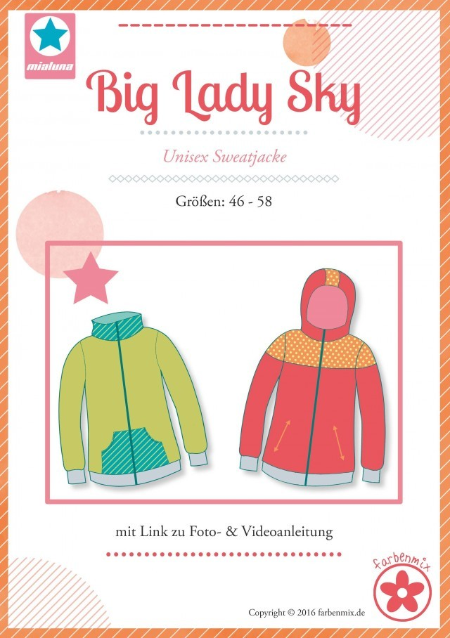 Schnittmuster für plus size Sweatjacke Big Lady Sky von farbenmix.de