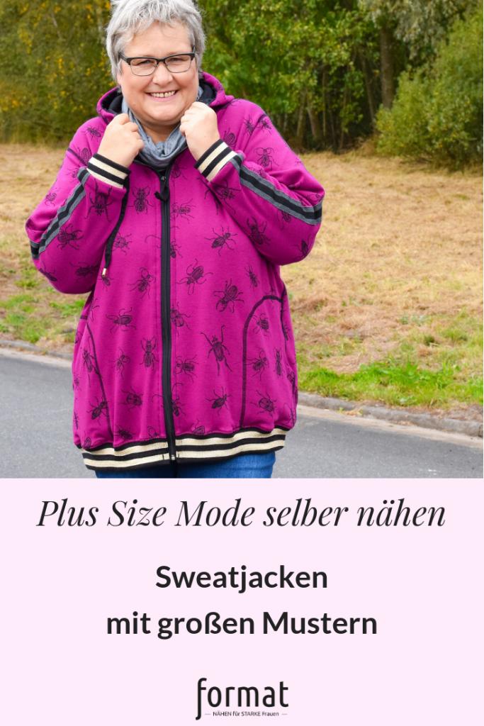 Sweatjacken mit großen Mustern für plus size Mode