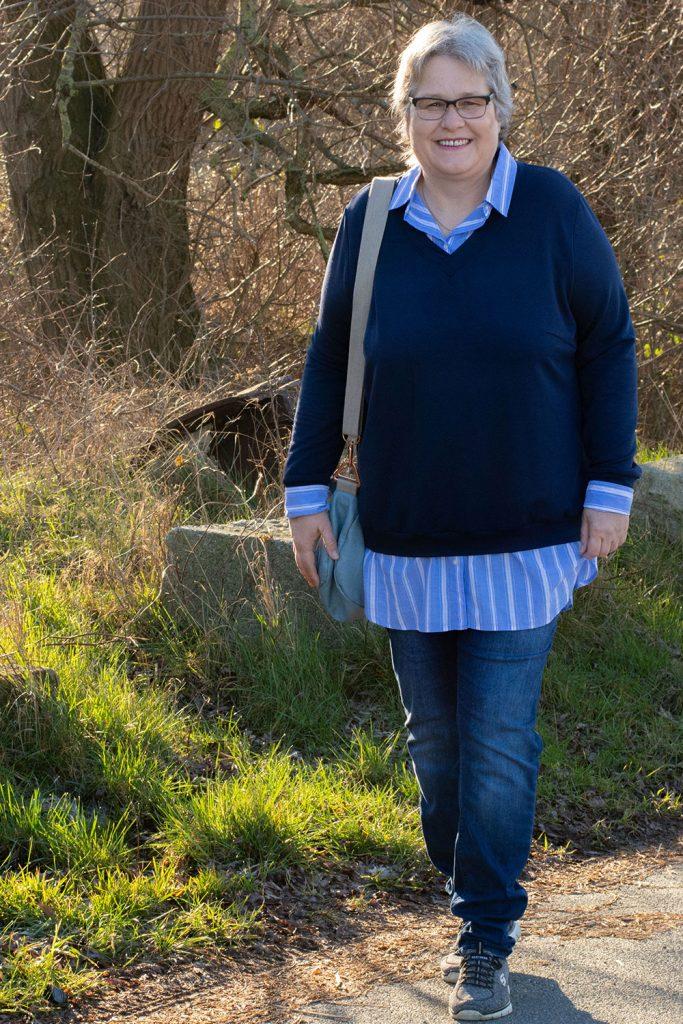Blusensweater selber aus Bluse und Pulli nähen