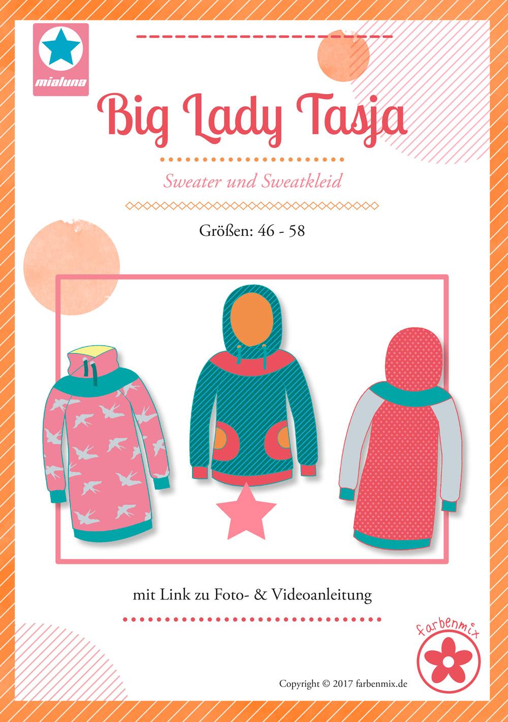 Hoodie für große Größen: Schnittmuster Tasja von farbenmix.de