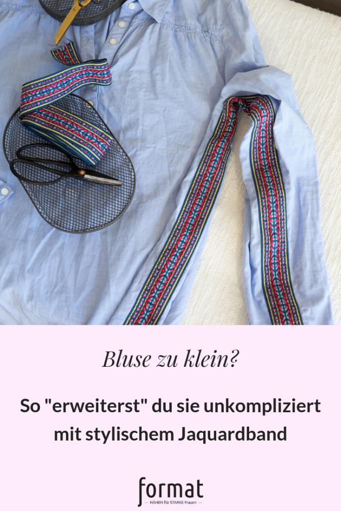 Bluse mit Jacquardband weiter nähen - format-naehen.de