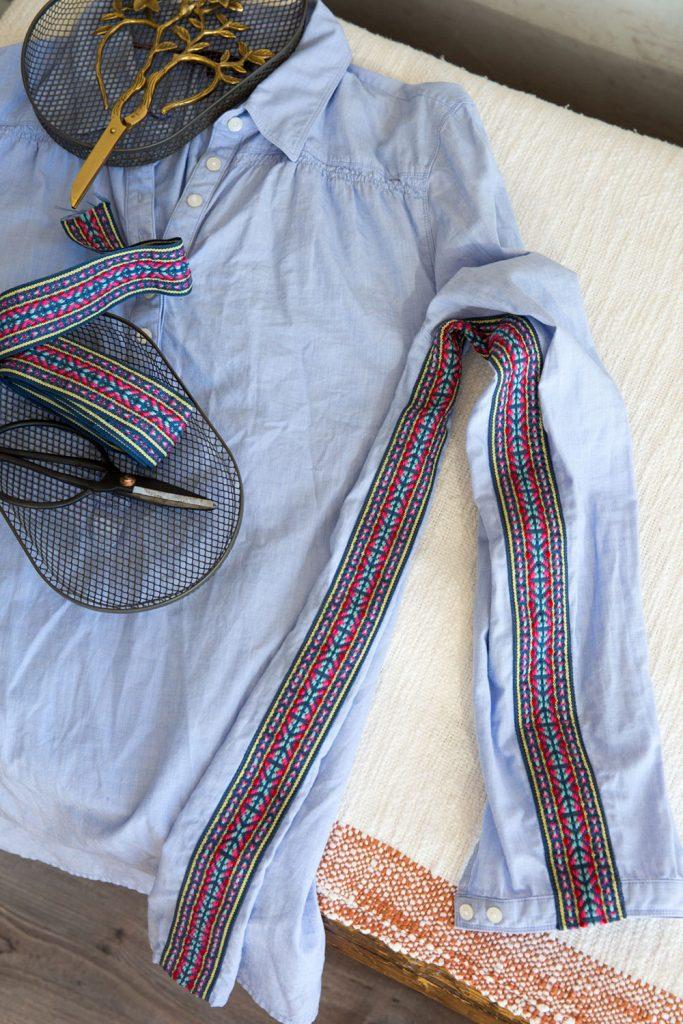 Zu enge Bluse mit einem Jaquard-Band passend nähen